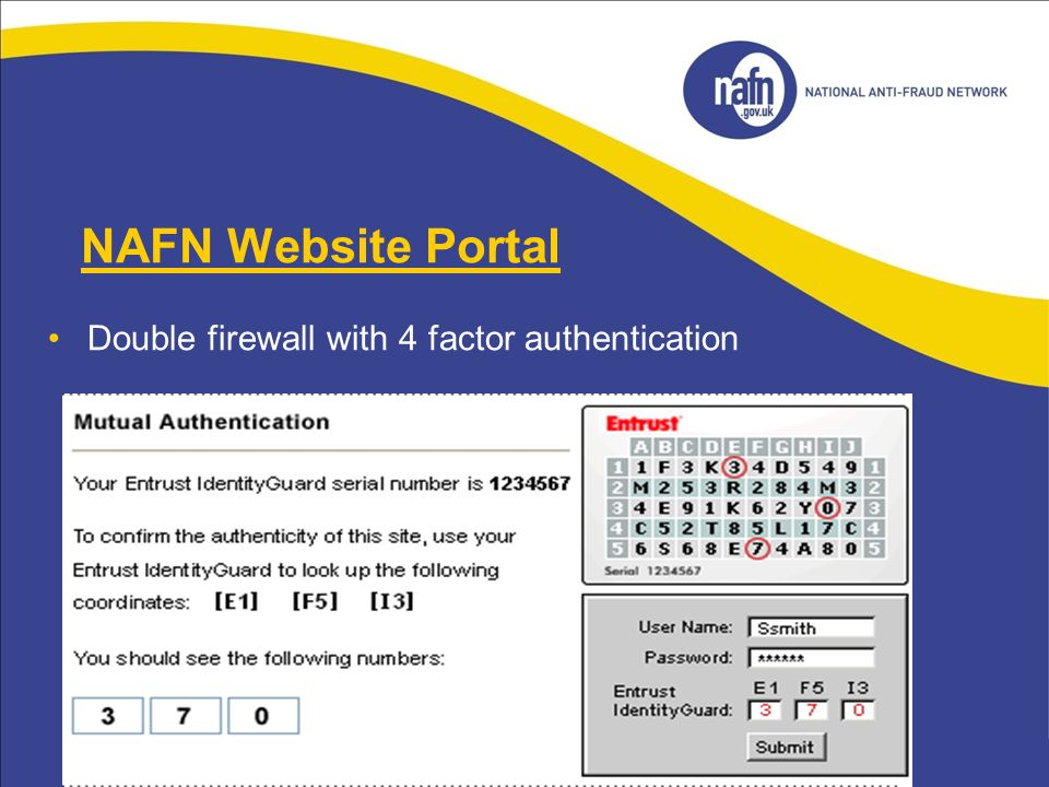 NAFN Website Portal Double firewall with 4 factor authentication 18