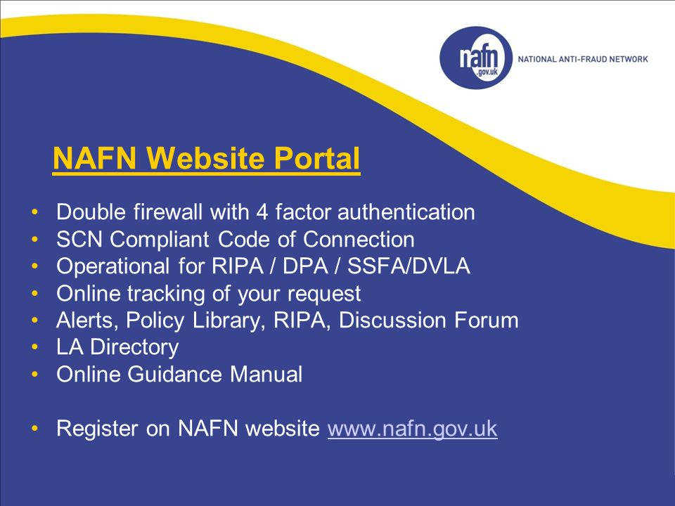 NAFN Website Portal Double firewall with 4 factor authentication