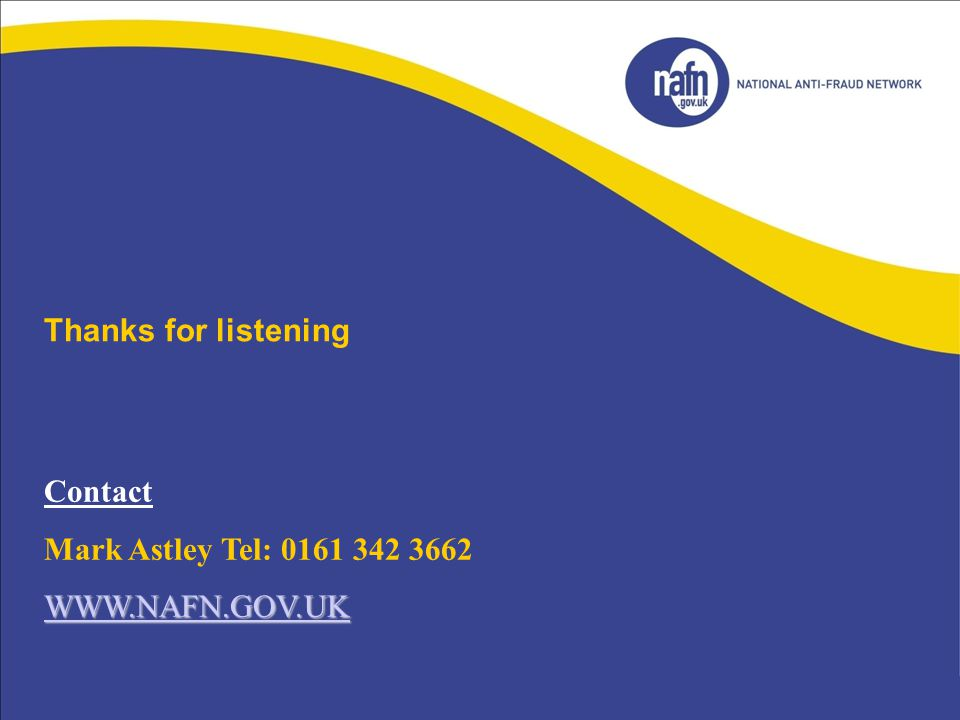 Thanks for listening Contact Mark Astley Tel: 0161 342 3662
