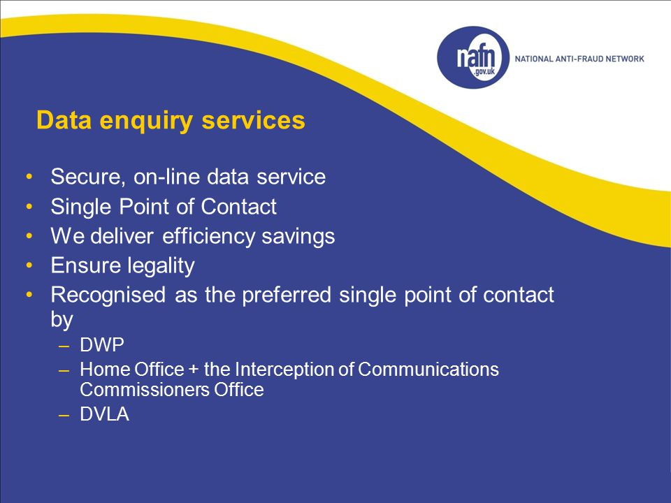 Data enquiry services Secure, on-line data service
