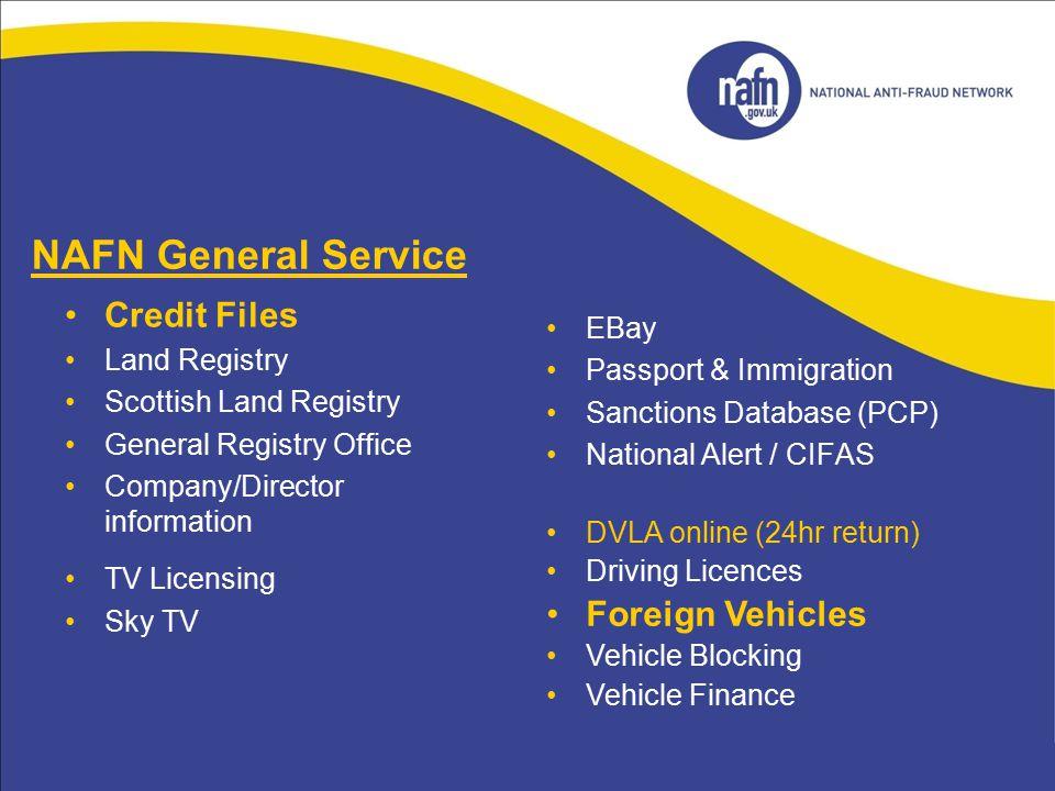 NAFN General Service Credit Files Foreign Vehicles EBay Land Registry