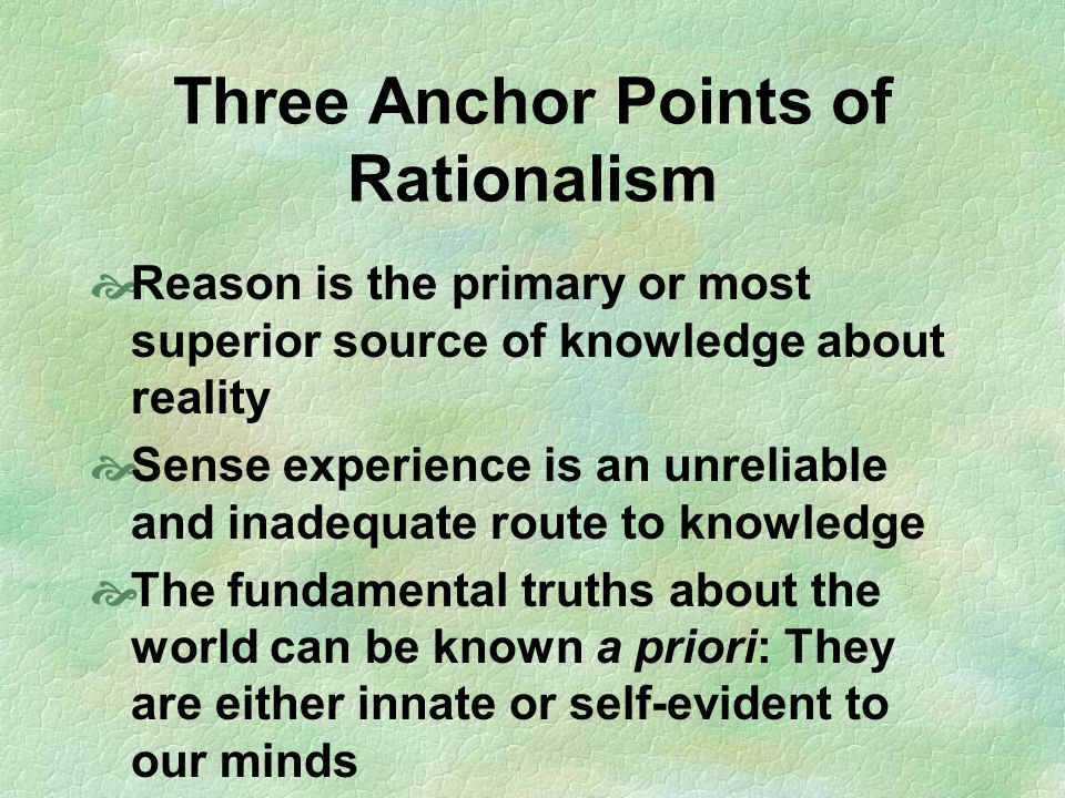 Three Anchor Points of Rationalism