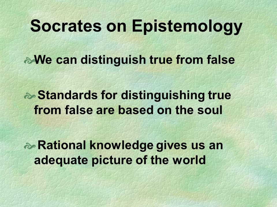 Socrates on Epistemology