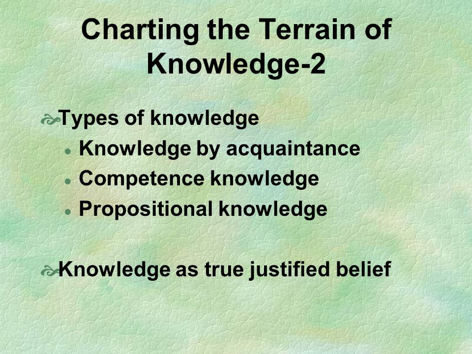Charting the Terrain of Knowledge-2