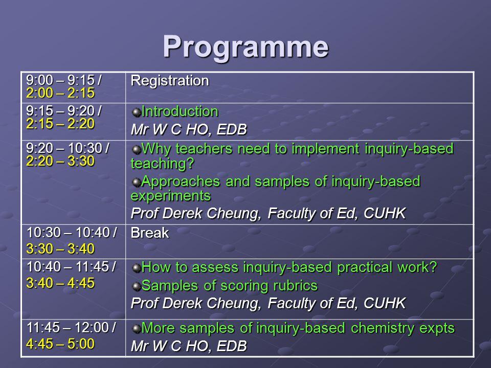 Programme Registration Introduction Mr W C HO, EDB