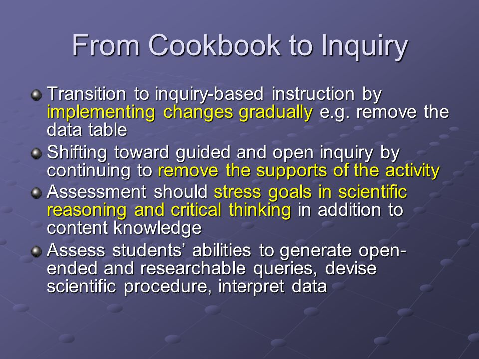 From Cookbook to Inquiry