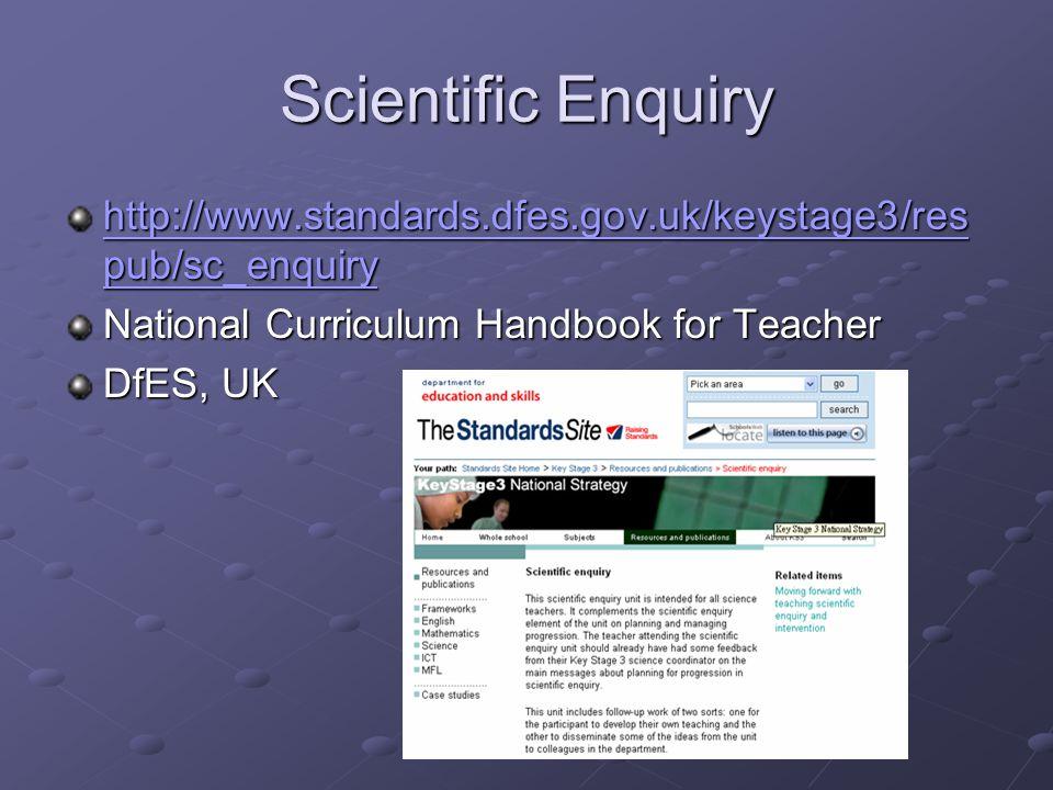 Scientific Enquiry http://www.standards.dfes.gov.uk/keystage3/respub/sc_enquiry. National Curriculum Handbook for Teacher.