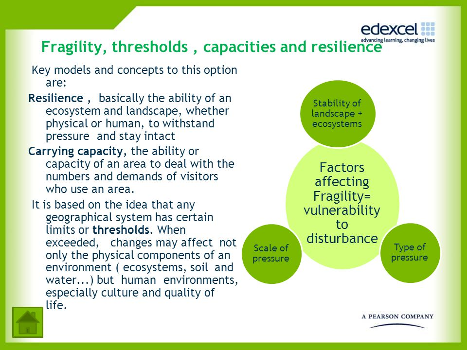 Fragility, thresholds , capacities and resilience