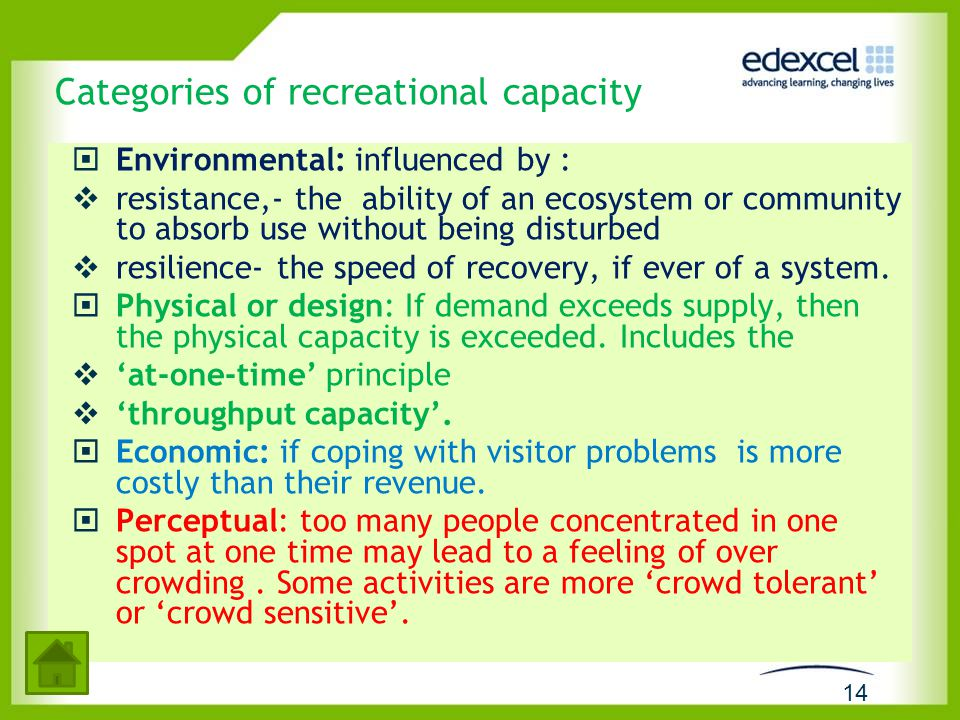 Categories of recreational capacity