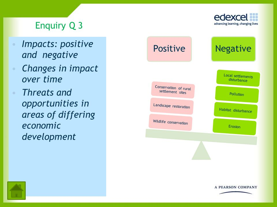 Impacts: positive and negative Changes in impact over time