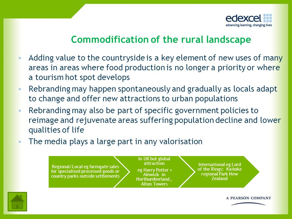 Commodification of the rural landscape