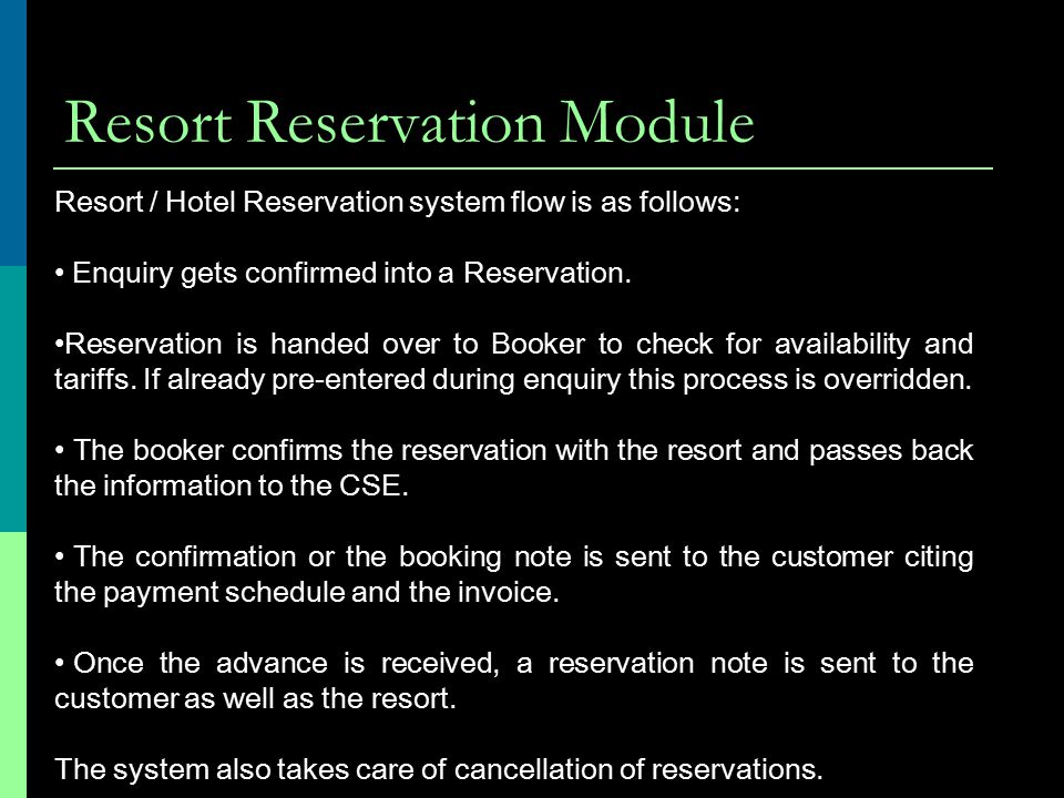 Resort Reservation Module