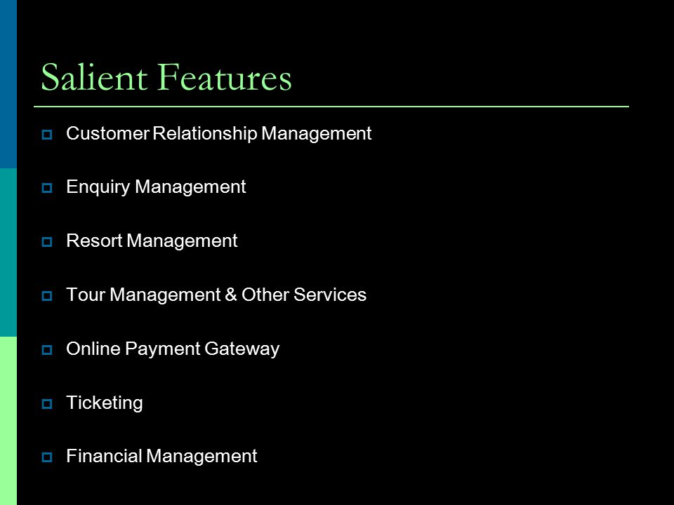Salient Features Customer Relationship Management Enquiry Management