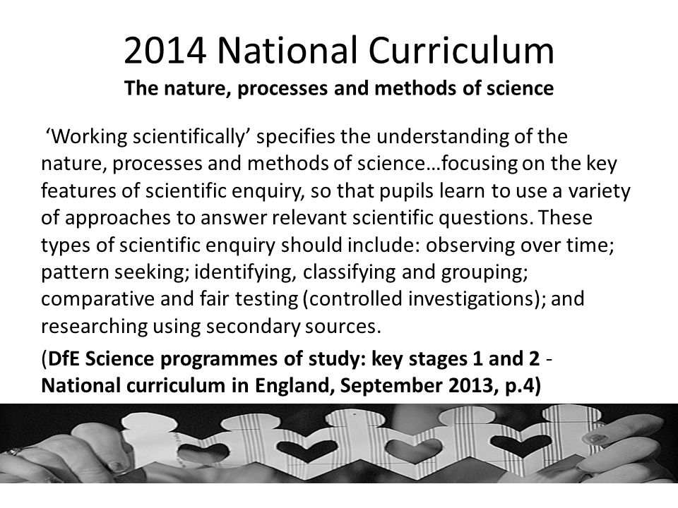 2014 National Curriculum The nature, processes and methods of science