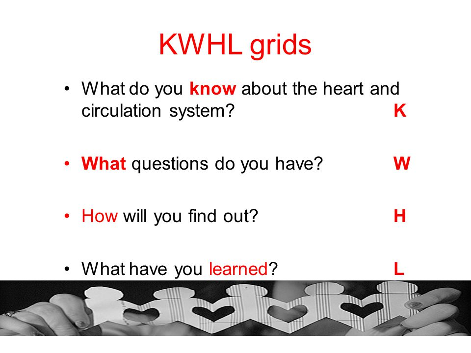 KWHL grids What do you know about the heart and circulation system K
