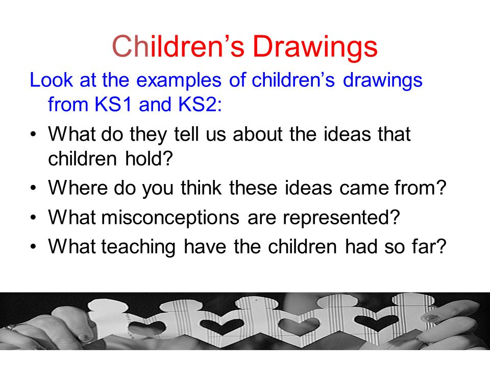 Children's Drawings Look at the examples of children's drawings from KS1 and KS2: What do they tell us about the ideas that children hold