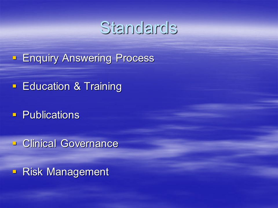 Standards Enquiry Answering Process Education & Training Publications