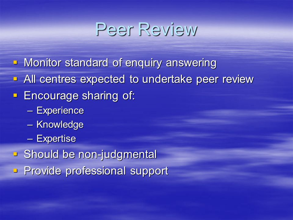 Peer Review Monitor standard of enquiry answering