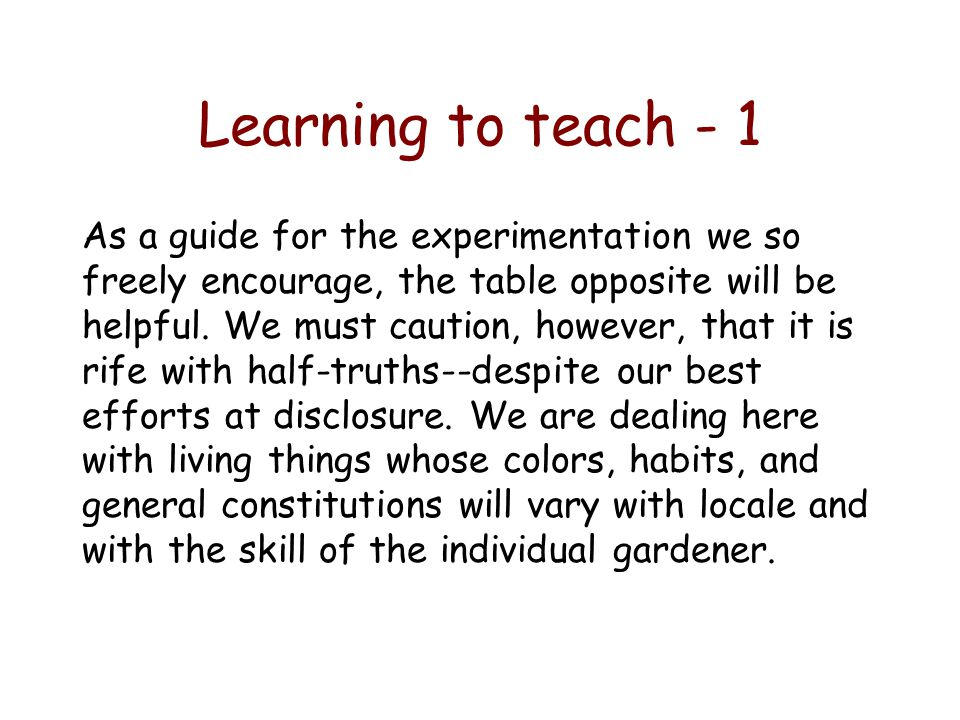 Learning to teach - 1