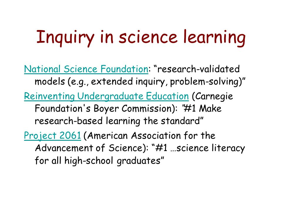Inquiry in science learning