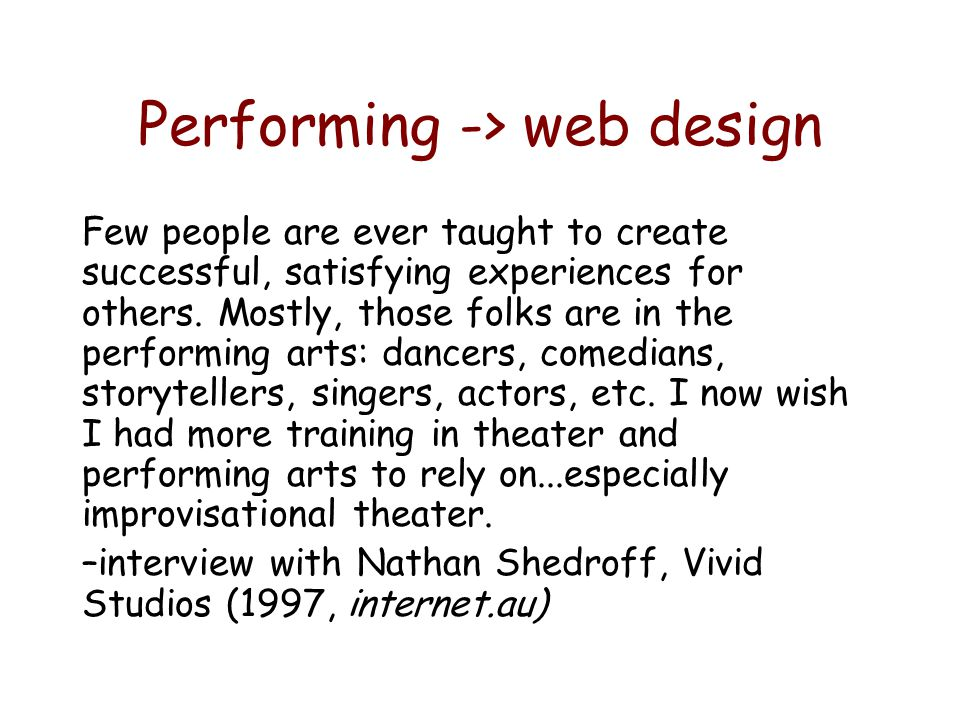 Performing -> web design