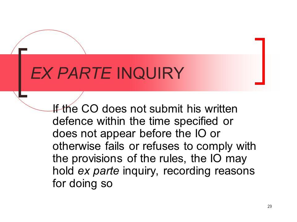 EX PARTE INQUIRY