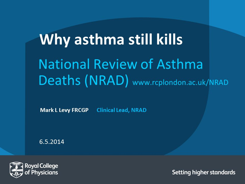 National Review of Asthma Deaths (NRAD) www.rcplondon.ac.uk/NRAD