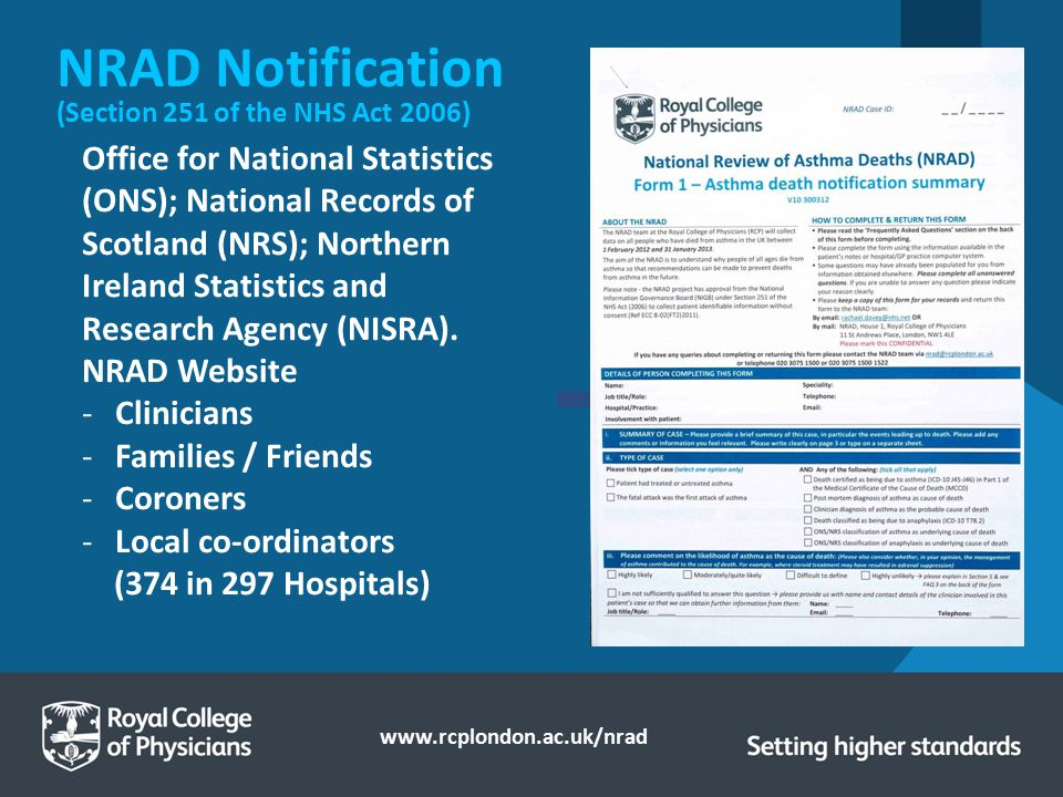 NRAD Notification (Section 251 of the NHS Act 2006)