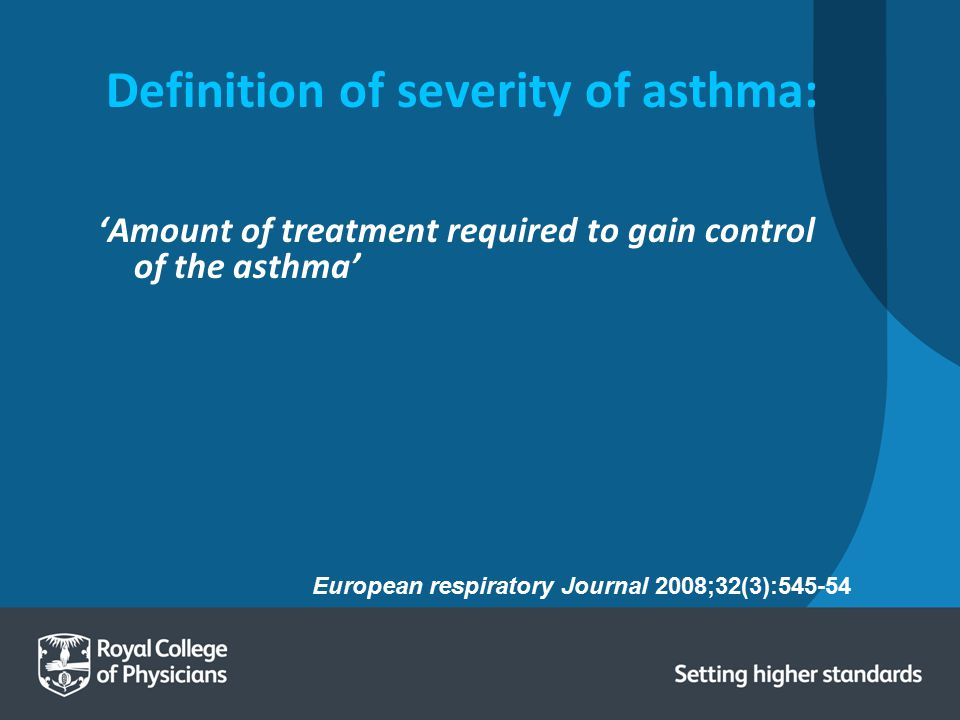 Definition of severity of asthma: