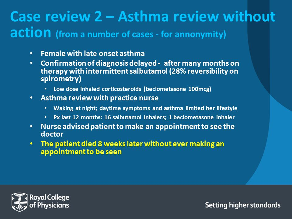 Case review 2 – Asthma review without action (from a number of cases - for annonymity)