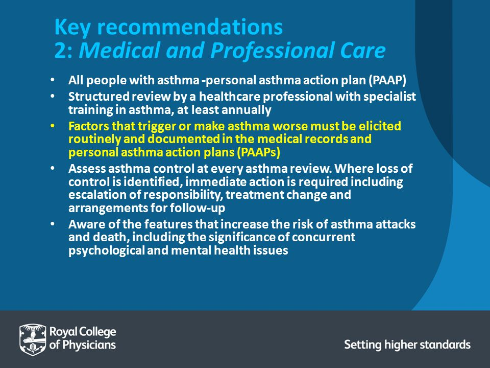 Key recommendations 2: Medical and Professional Care