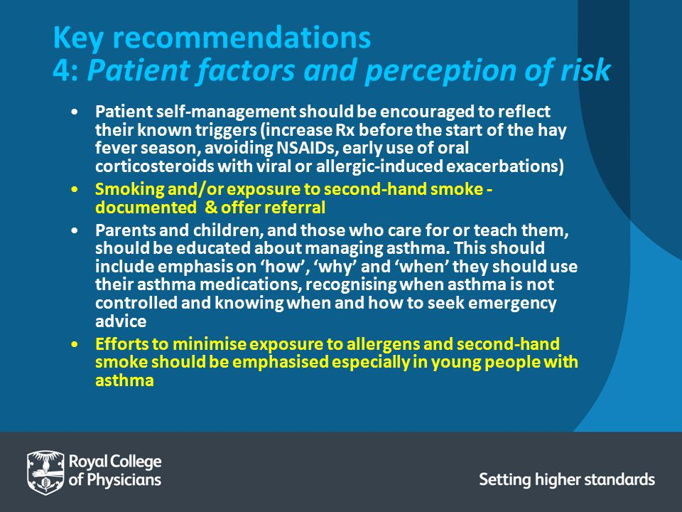Key recommendations 4: Patient factors and perception of risk