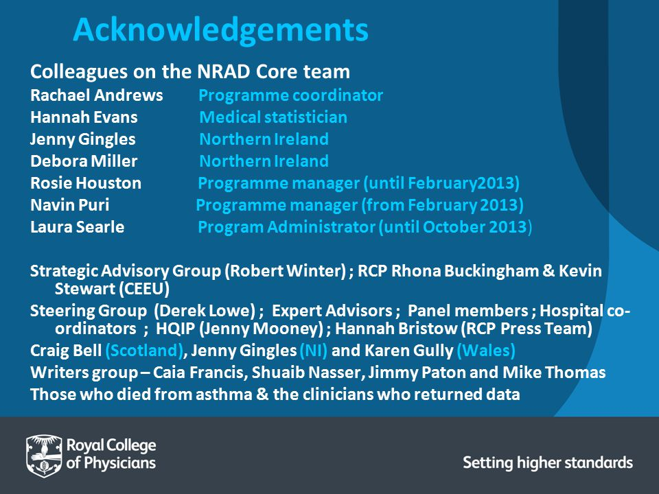 Acknowledgements Colleagues on the NRAD Core team