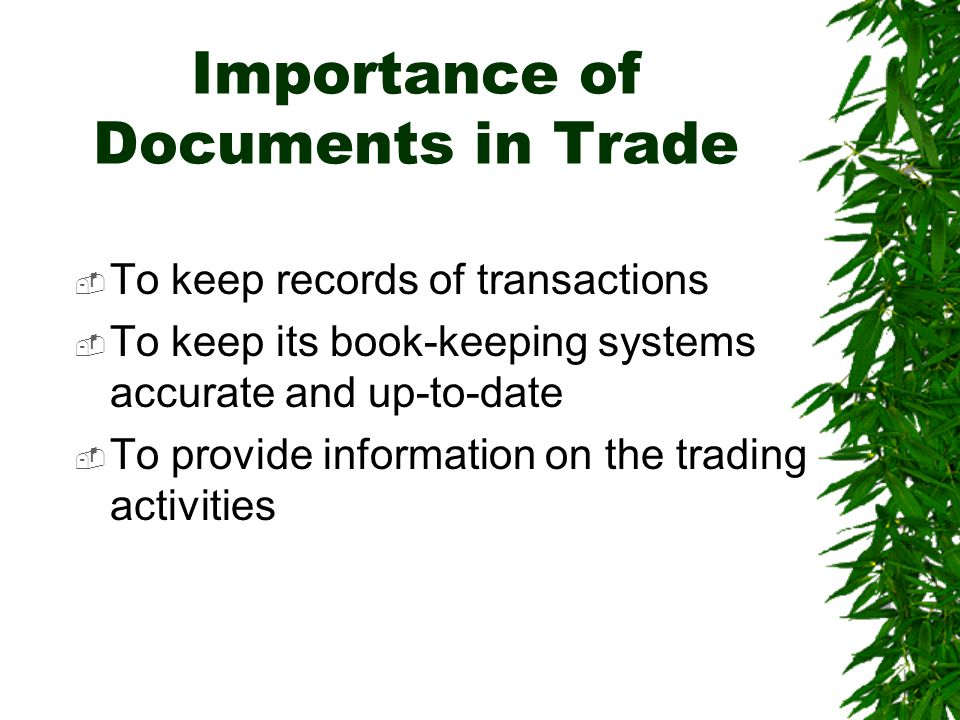 Importance of Documents in Trade