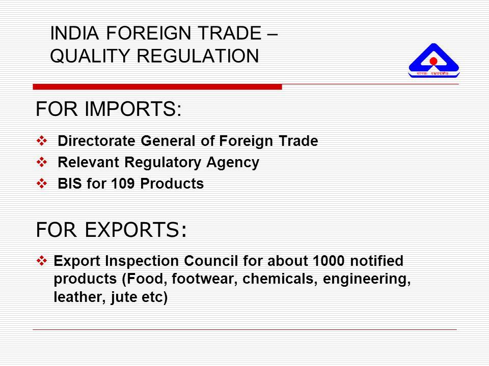 INDIA FOREIGN TRADE – QUALITY REGULATION