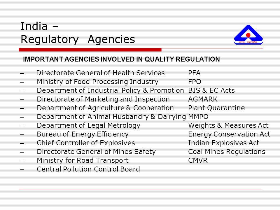 India – Regulatory Agencies