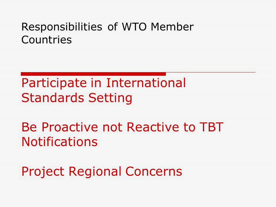 Responsibilities of WTO Member Countries