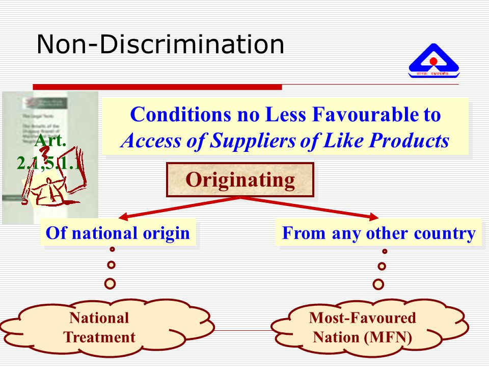 Non-Discrimination Conditions no Less Favourable to