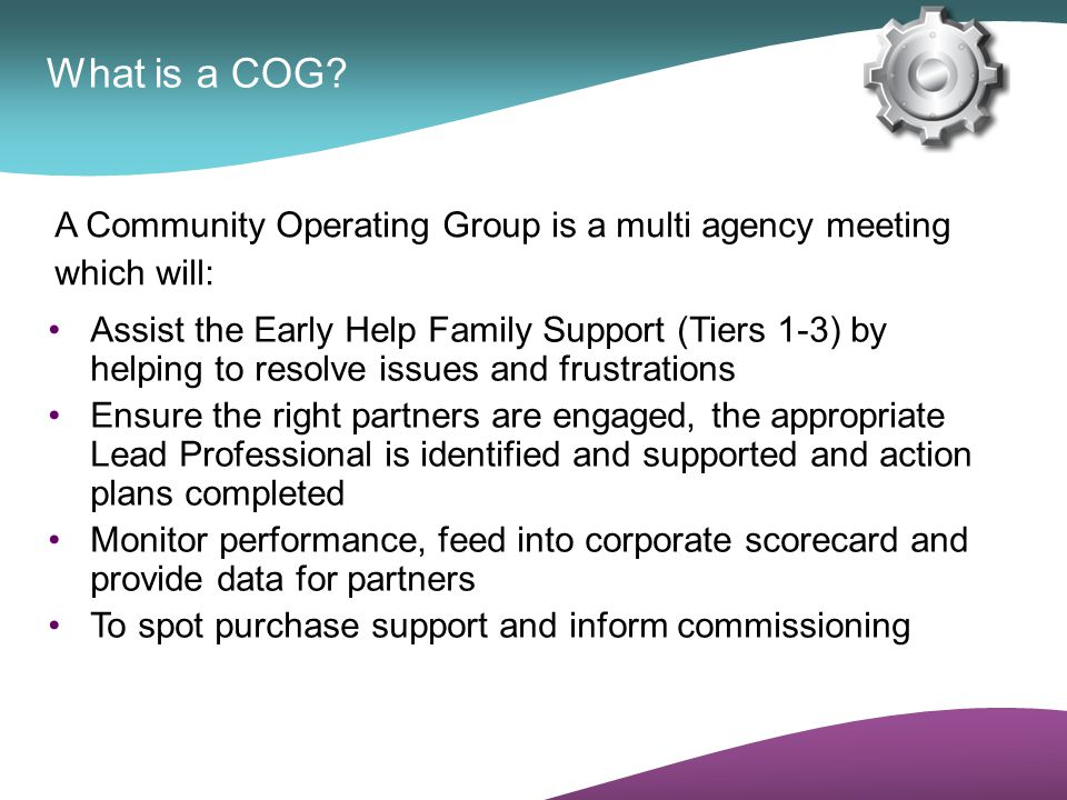 What is a COG A Community Operating Group is a multi agency meeting