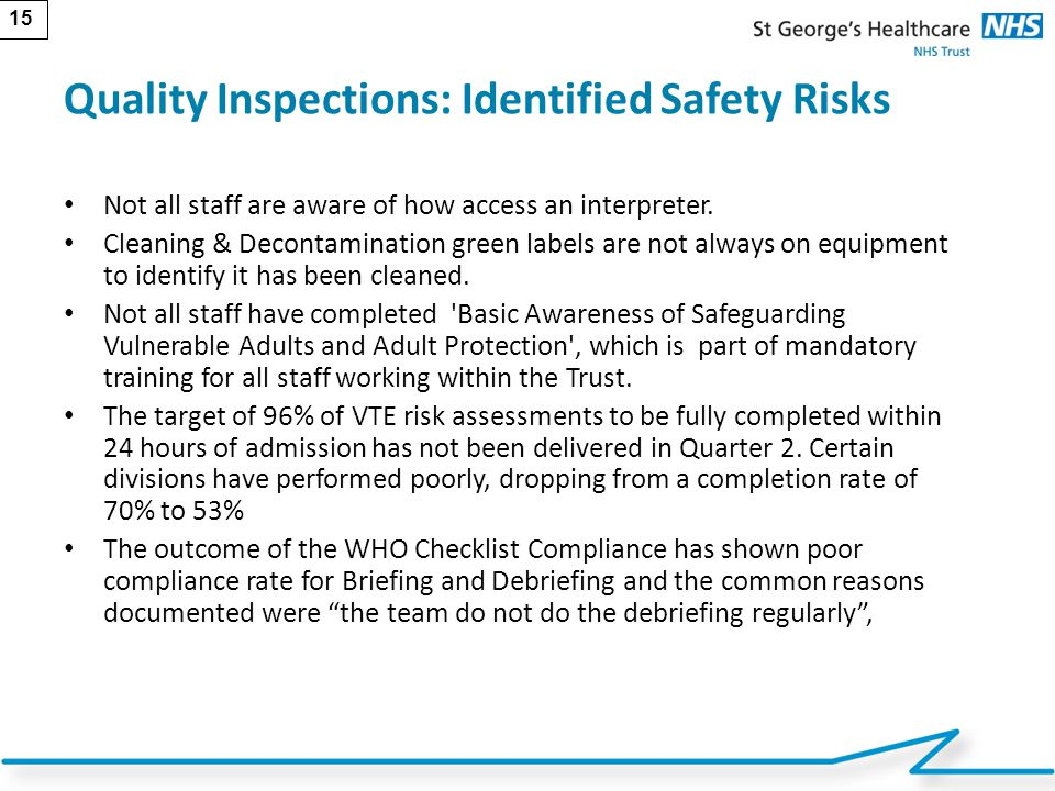 Quality Inspections: Identified Safety Risks