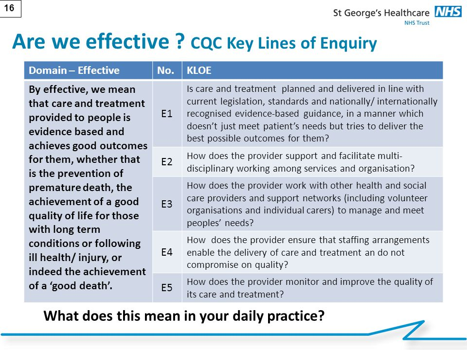 Are we effective CQC Key Lines of Enquiry
