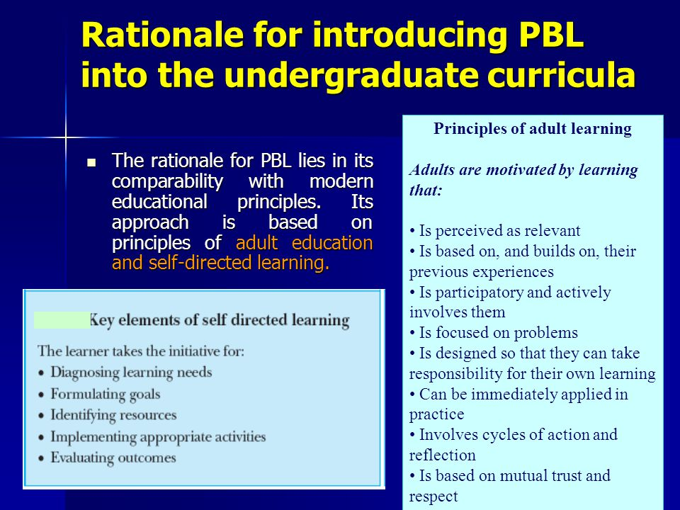 Rationale for introducing PBL into the undergraduate curricula