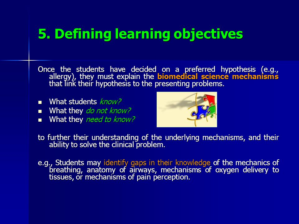 5. Defining learning objectives