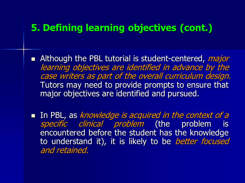 5. Defining learning objectives (cont.)