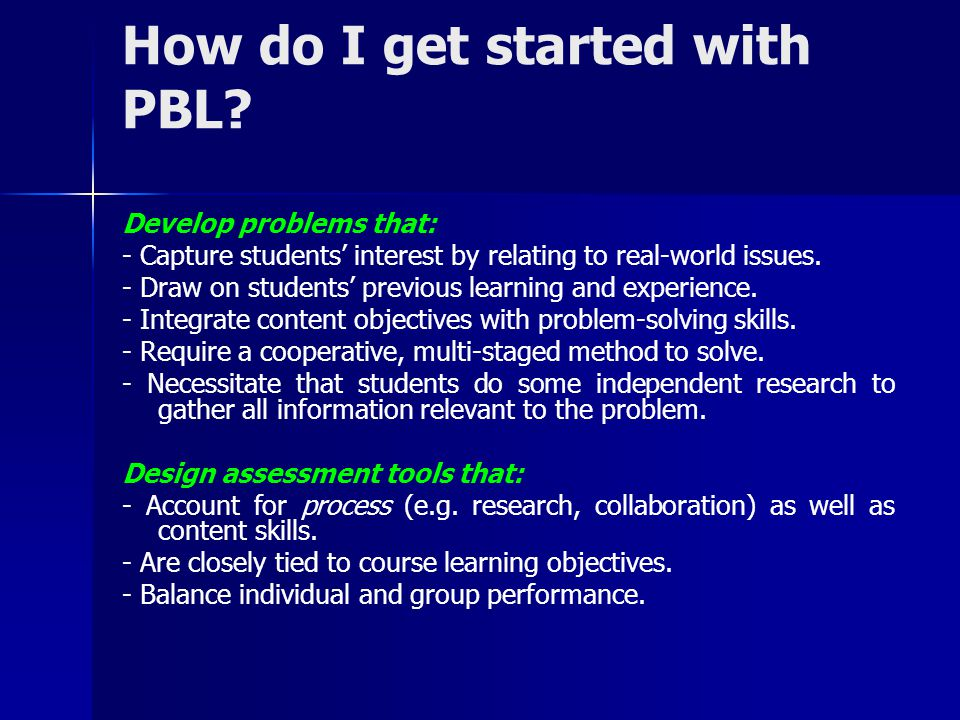How do I get started with PBL