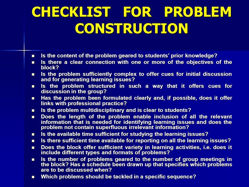 CHECKLIST FOR PROBLEM CONSTRUCTION
