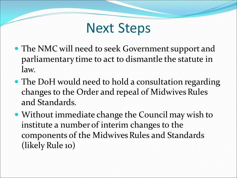 Next Steps The NMC will need to seek Government support and parliamentary time to act to dismantle the statute in law.