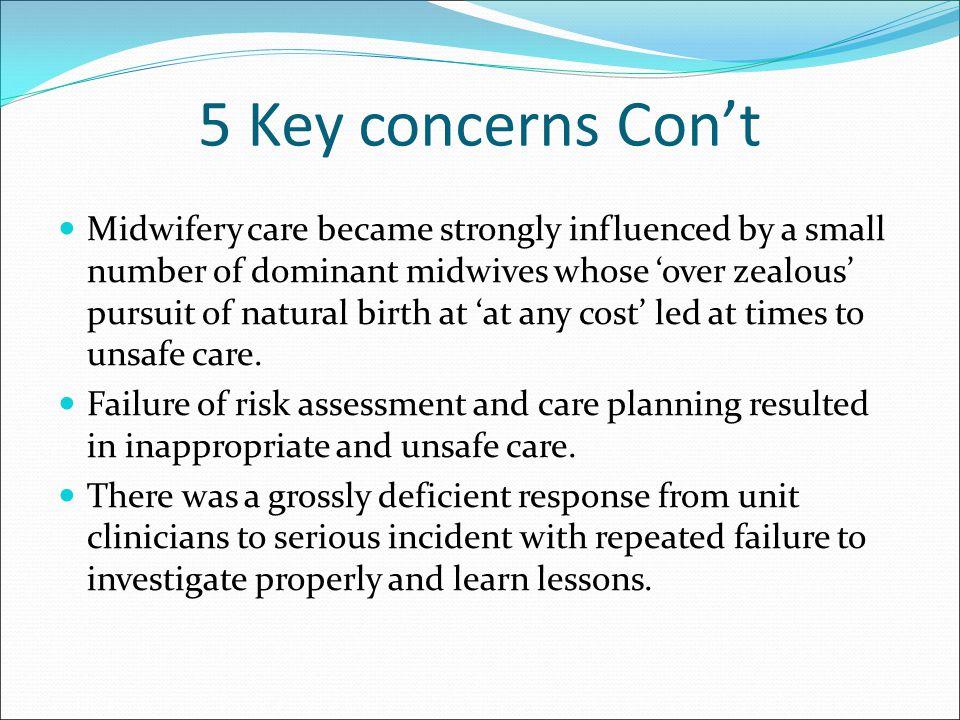 5 Key concerns Con't