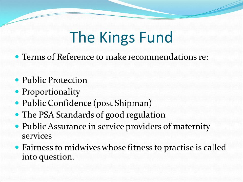 The Kings Fund Terms of Reference to make recommendations re: