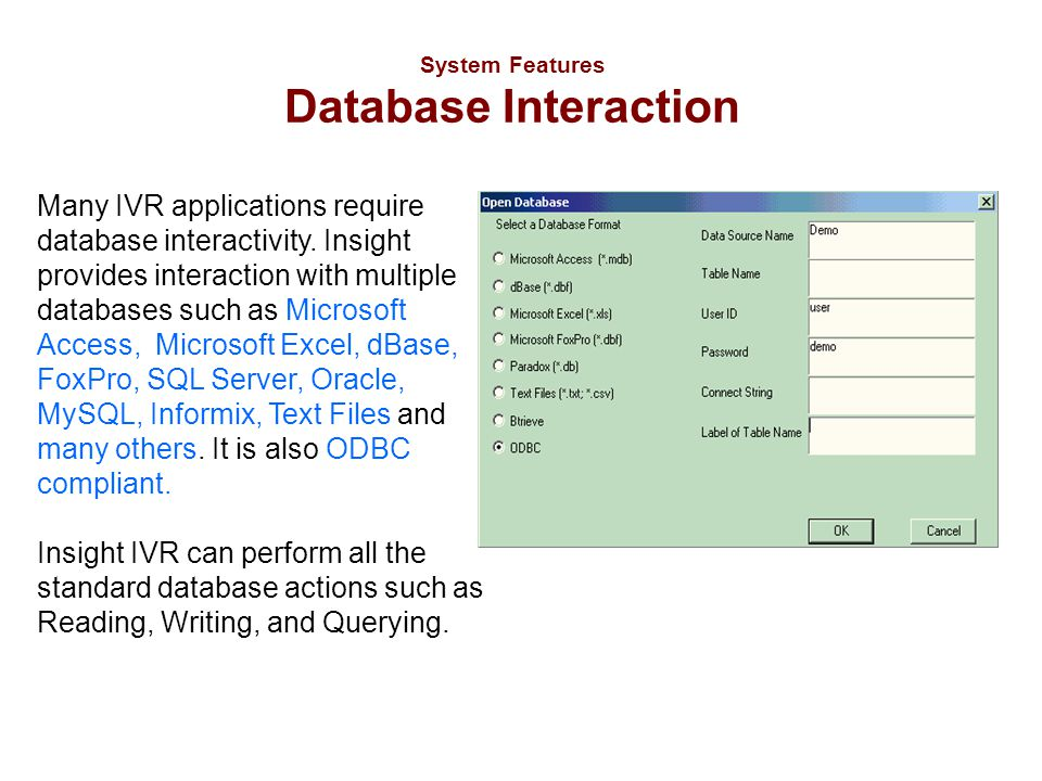 System Features Database Interaction